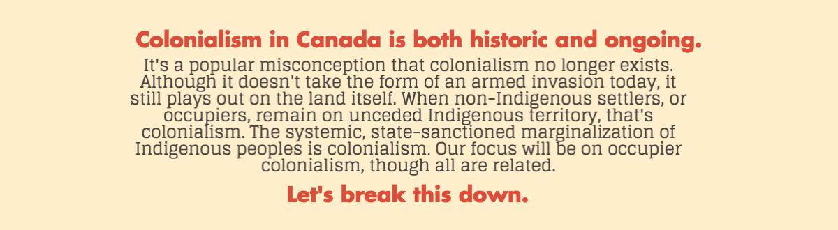 Graphic on colonialism in Canada is both historic and ongoing